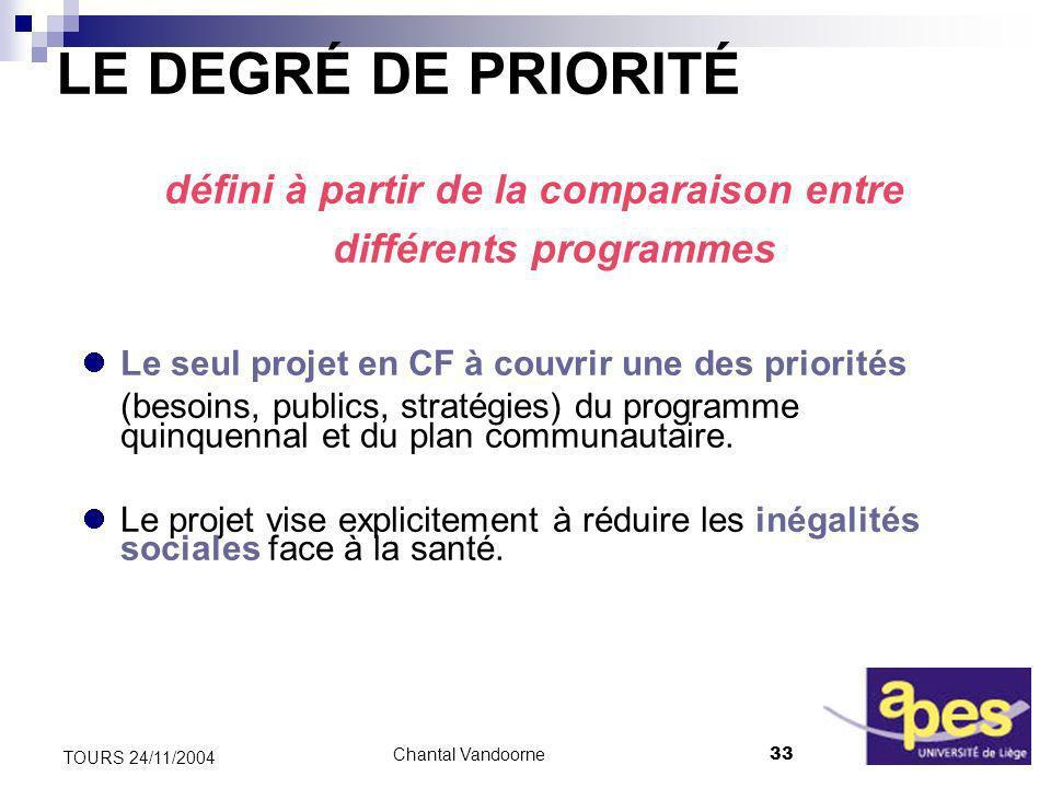 Chantal Vandoorne33 TOURS 24/11/2004 LE DEGRÉ DE PRIORITÉ défini à partir de la comparaison entre différents programmes Le seul projet en CF à couvrir une des priorités (besoins, publics, stratégies) du programme quinquennal et du plan communautaire.