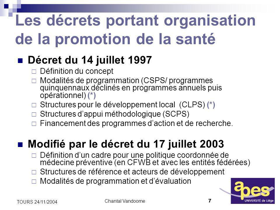 Chantal Vandoorne18 TOURS 24/11/2004 Priorités du P 5 « 2004-2008 » (I) Les principes daction 1.