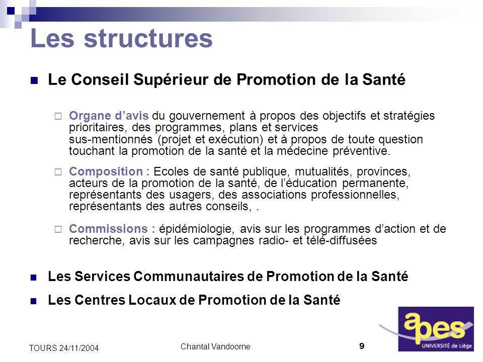 Chantal Vandoorne20 TOURS 24/11/2004 Priorités du P 5 « 2004-2008 » (III) Des problématiques prioritaires 1.