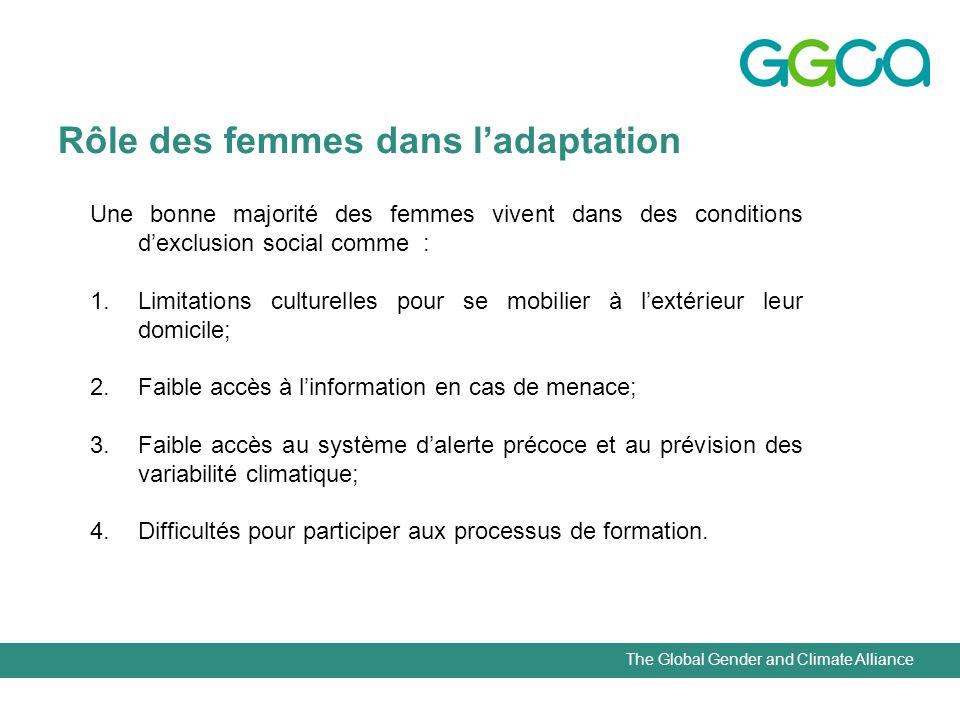 The Global Gender and Climate Alliance Rôle des femmes dans ladaptation Une bonne majorité des femmes vivent dans des conditions dexclusion social com