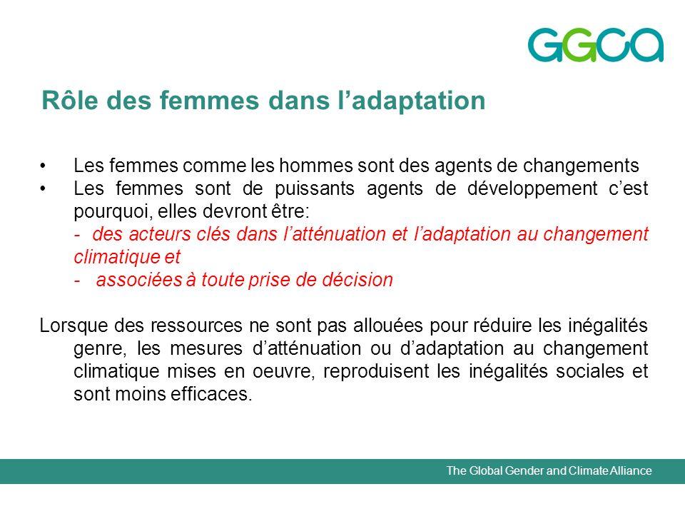 The Global Gender and Climate Alliance Rôle des femmes dans ladaptation Les femmes comme les hommes sont des agents de changements Les femmes sont de