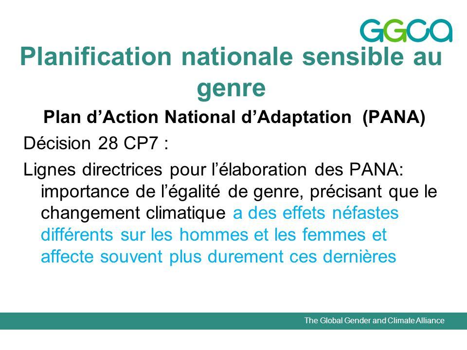 The Global Gender and Climate Alliance Planification nationale sensible au genre Plan dAction National dAdaptation (PANA) Décision 28 CP7 : Lignes dir