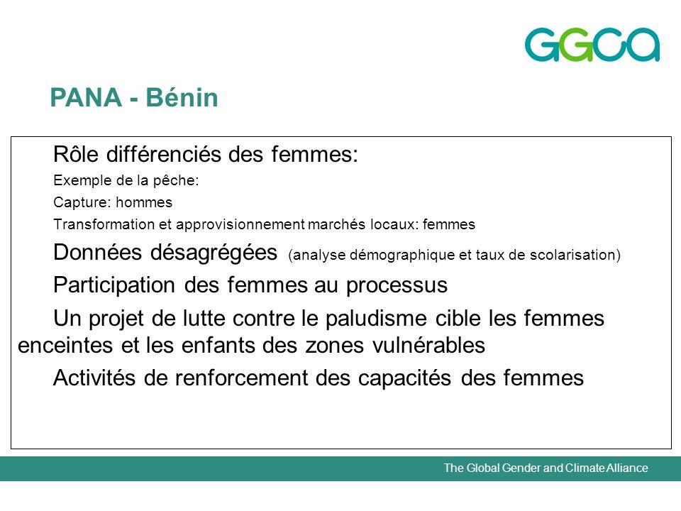 The Global Gender and Climate Alliance Rôle différenciés des femmes: Exemple de la pêche: Capture: hommes Transformation et approvisionnement marchés