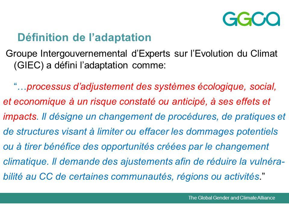 The Global Gender and Climate Alliance Définition de ladaptation Groupe Intergouvernemental dExperts sur lEvolution du Climat (GIEC) a défini ladaptat