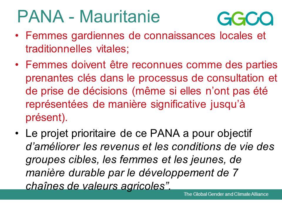 The Global Gender and Climate Alliance PANA - Mauritanie Femmes gardiennes de connaissances locales et traditionnelles vitales; Femmes doivent être re