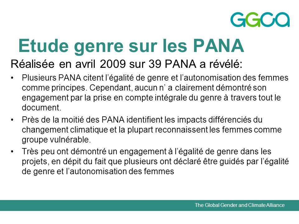 The Global Gender and Climate Alliance Etude genre sur les PANA Réalisée en avril 2009 sur 39 PANA a révélé: Plusieurs PANA citent légalité de genre et lautonomisation des femmes comme principes.