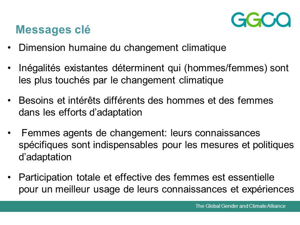 The Global Gender and Climate Alliance Messages clé Dimension humaine du changement climatique Inégalités existantes déterminent qui (hommes/femmes) s