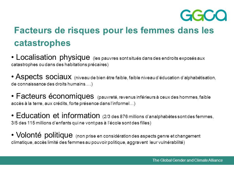 The Global Gender and Climate Alliance Facteurs de risques pour les femmes dans les catastrophes Localisation physique (les pauvres sont situés dans d