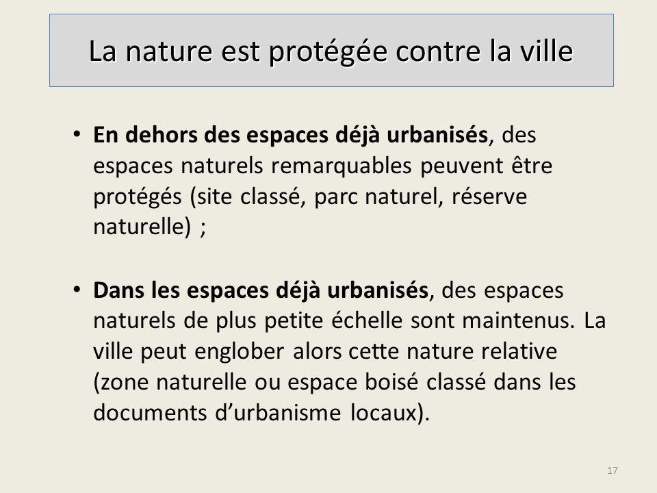 En dehors des espaces déjà urbanisés, des espaces naturels remarquables peuvent être protégés (site classé, parc naturel, réserve naturelle) ; Dans les espaces déjà urbanisés, des espaces naturels de plus petite échelle sont maintenus.