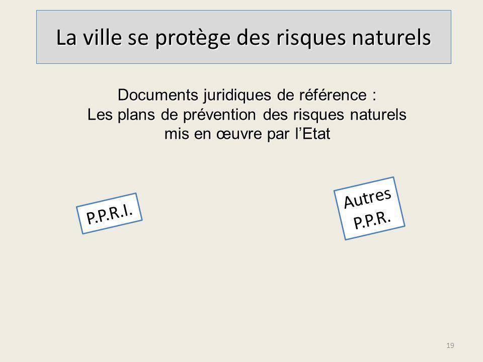 La ville se protège des risques naturels P.P.R.I. Documents juridiques de référence : Les plans de prévention des risques naturels mis en œuvre par lE
