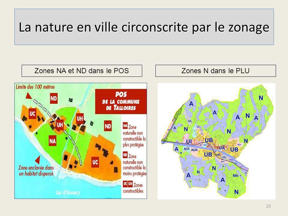 La nature en ville circonscrite par le zonage 20 Zones NA et ND dans le POSZones N dans le PLU