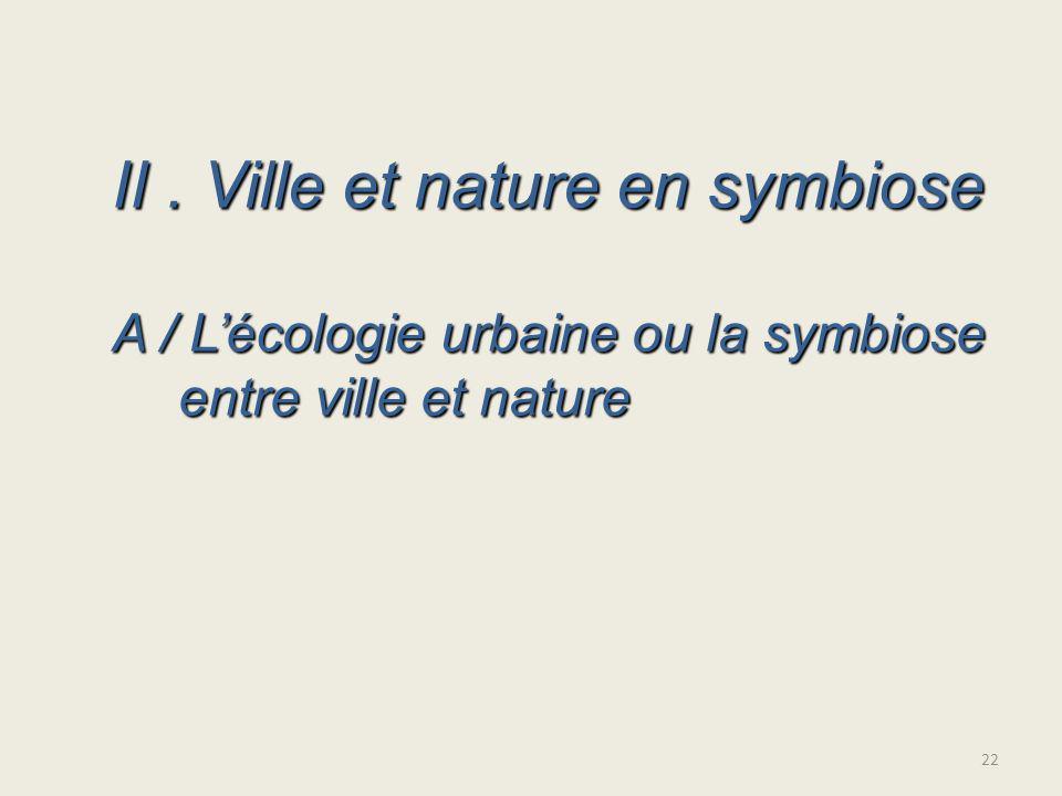 II. Ville et nature en symbiose A / Lécologie urbaine ou la symbiose entre ville et nature 22