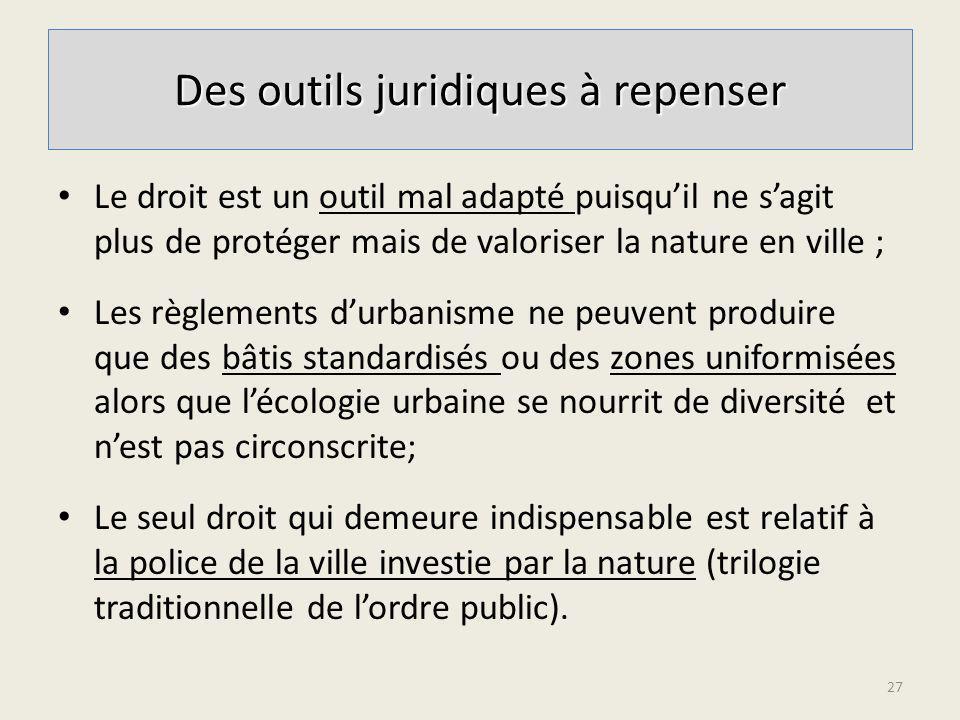 Le droit est un outil mal adapté puisquil ne sagit plus de protéger mais de valoriser la nature en ville ; Les règlements durbanisme ne peuvent produi