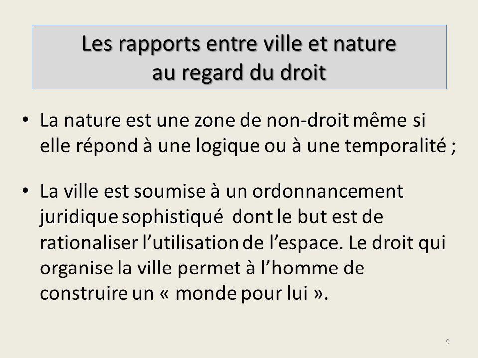 La nature est une zone de non-droit La nature est une zone de non-droit même si elle répond à une logique ou à une temporalité ; La ville est soumise