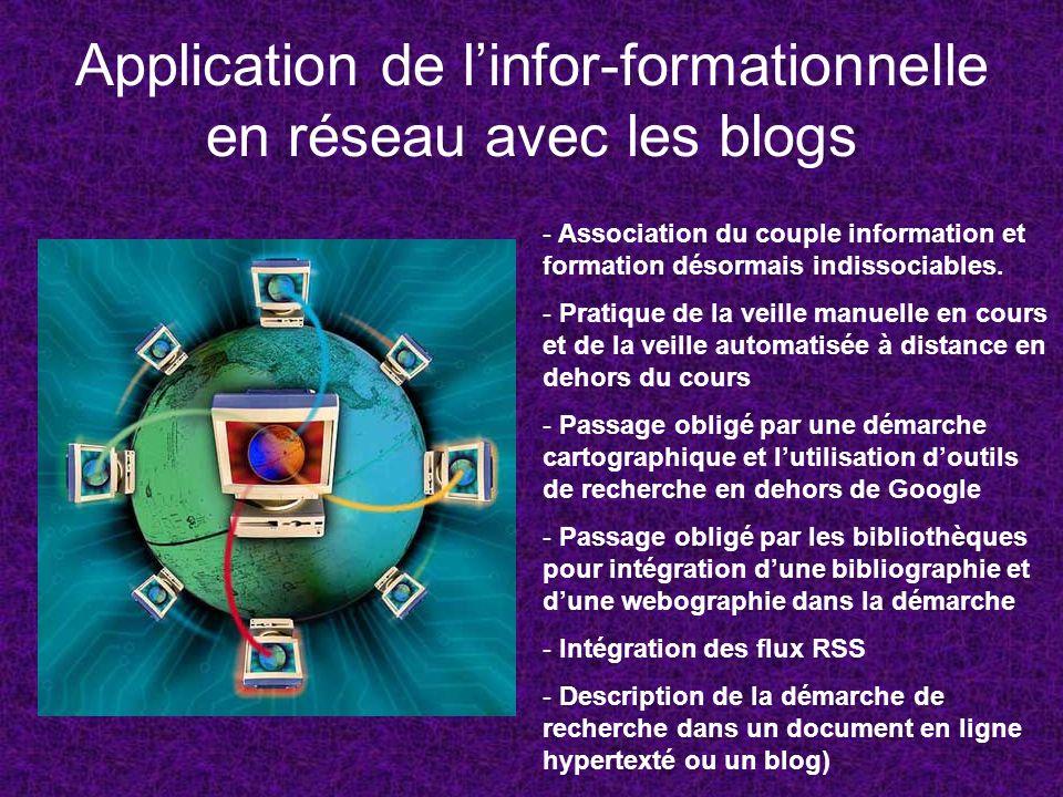 Application de linfor-formationnelle en réseau avec les blogs - Association du couple information et formation désormais indissociables. - Pratique de