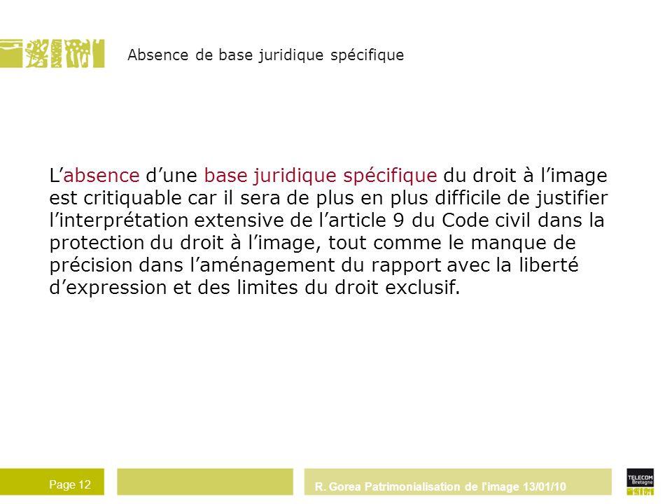 R. Gorea Patrimonialisation de l'image 13/01/10 Page 12 Labsence dune base juridique spécifique du droit à limage est critiquable car il sera de plus