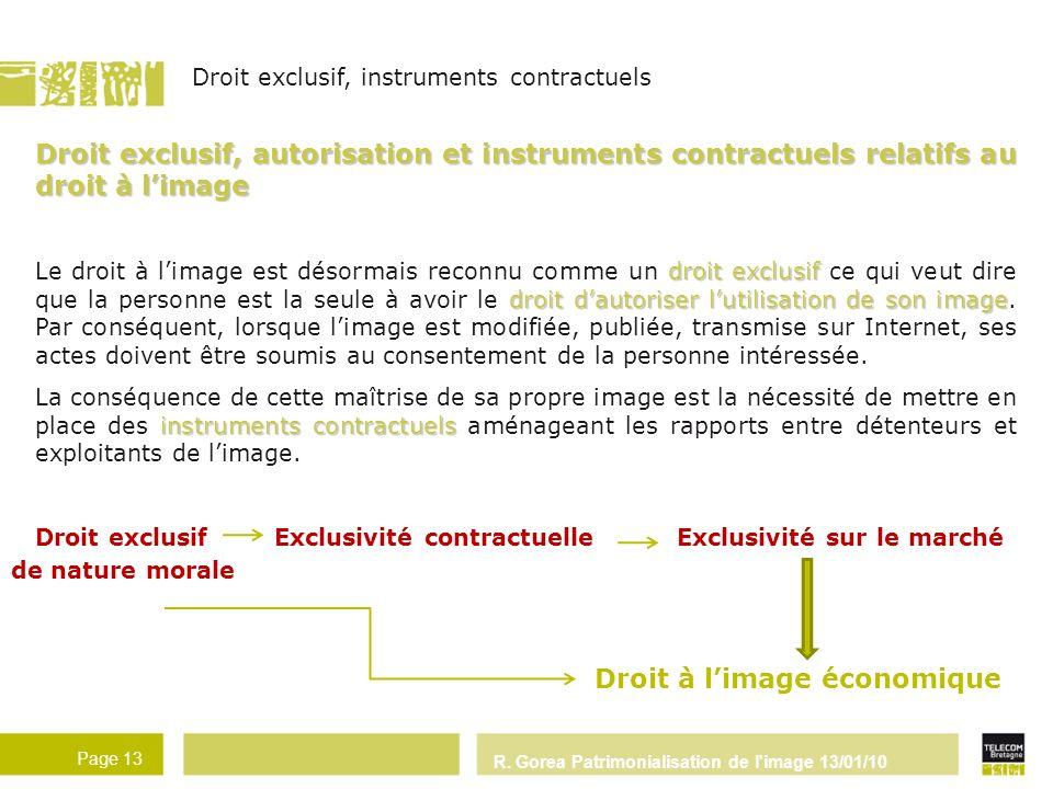R. Gorea Patrimonialisation de l'image 13/01/10 Page 13 Droit exclusif, autorisation et instruments contractuels relatifs au droit à limage droit excl
