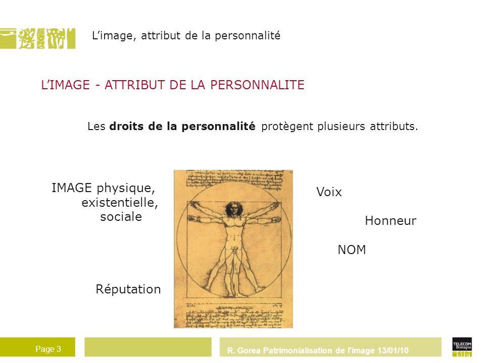 R. Gorea Patrimonialisation de l'image 13/01/10 Page 3 - 3 - LIMAGE - ATTRIBUT DE LA PERSONNALITE Les droits de la personnalité protègent plusieurs at