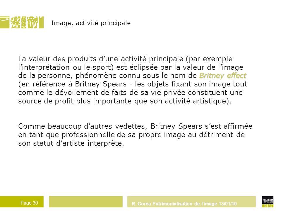 R. Gorea Patrimonialisation de l'image 13/01/10 Page 30 Britney effect La valeur des produits dune activité principale (par exemple linterprétation ou