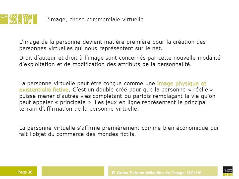R. Gorea Patrimonialisation de l'image 13/01/10 Page 36 Limage, chose commerciale virtuelle Page 36 Limage de la personne devient matière première pou
