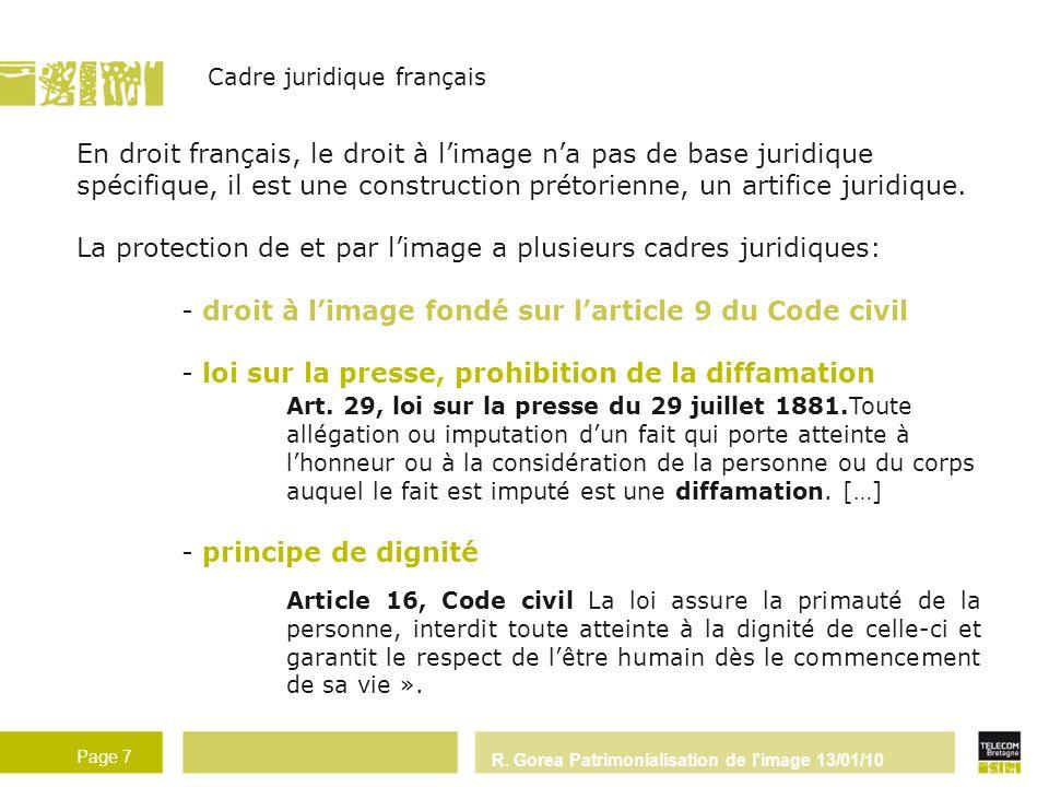R. Gorea Patrimonialisation de l'image 13/01/10 Page 7 Cadre juridique français En droit français, le droit à limage na pas de base juridique spécifiq