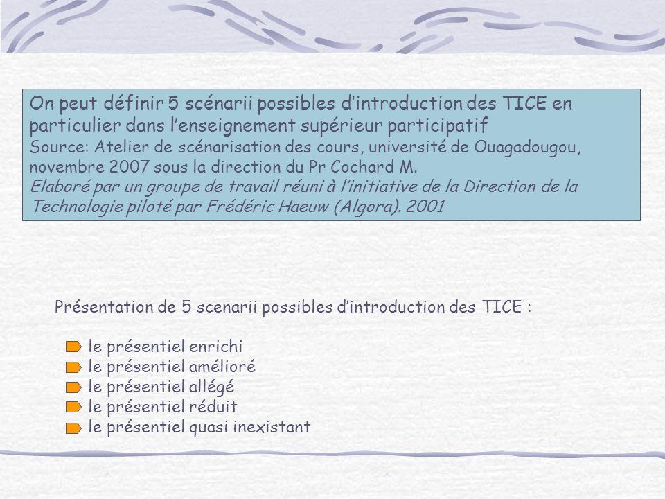 On peut définir 5 scénarii possibles dintroduction des TICE en particulier dans lenseignement supérieur participatif Source: Atelier de scénarisation des cours, université de Ouagadougou, novembre 2007 sous la direction du Pr Cochard M.