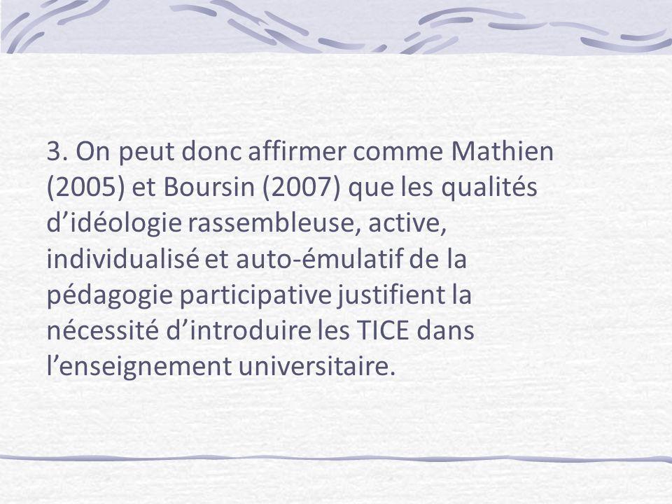 3. On peut donc affirmer comme Mathien (2005) et Boursin (2007) que les qualités didéologie rassembleuse, active, individualisé et auto-émulatif de la