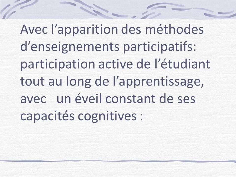 Avec lapparition des méthodes denseignements participatifs: participation active de létudiant tout au long de lapprentissage, avec un éveil constant de ses capacités cognitives :