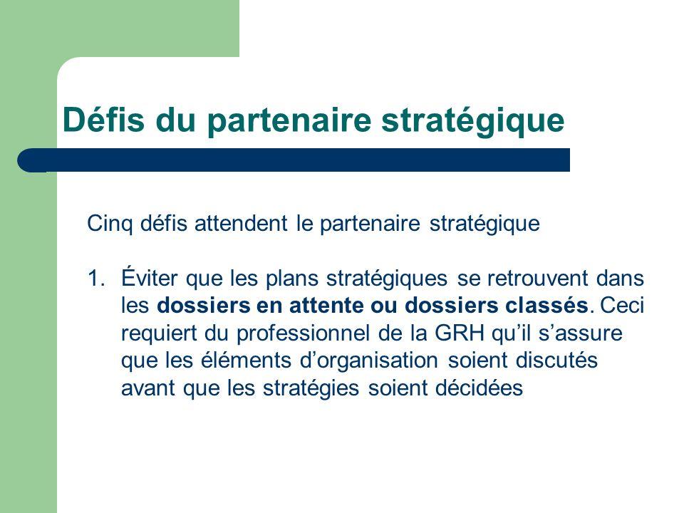 Défis du partenaire stratégique 2.Création dun tableau dactivités équilibré.