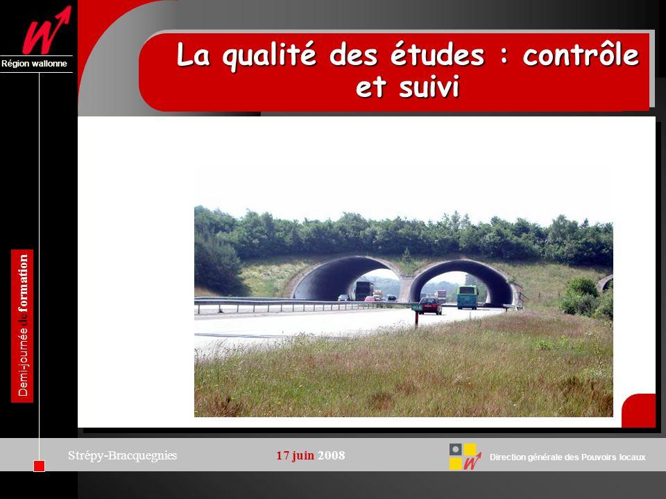 Direction générale des Pouvoirs locaux Région wallonne Demi-journée de formation Strépy-Bracquegnies 17 juin 2008 La qualité des études : contrôle et suivi