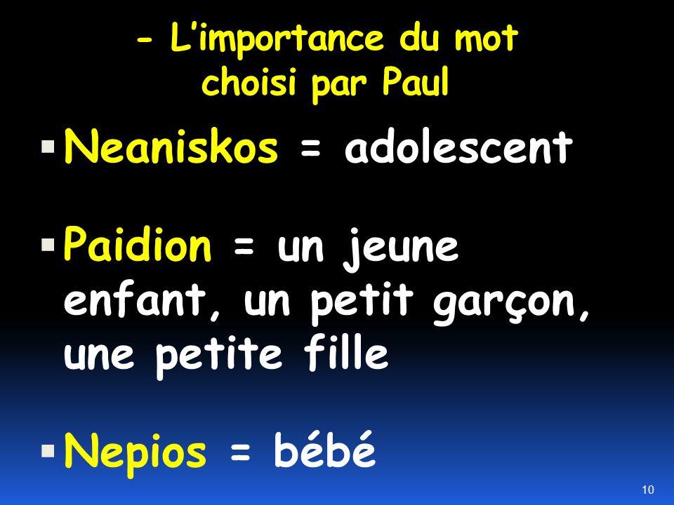 - Devenir des adultes dans la foi 14a ainsi, nous ne serons plus des enfants (nepios), 9