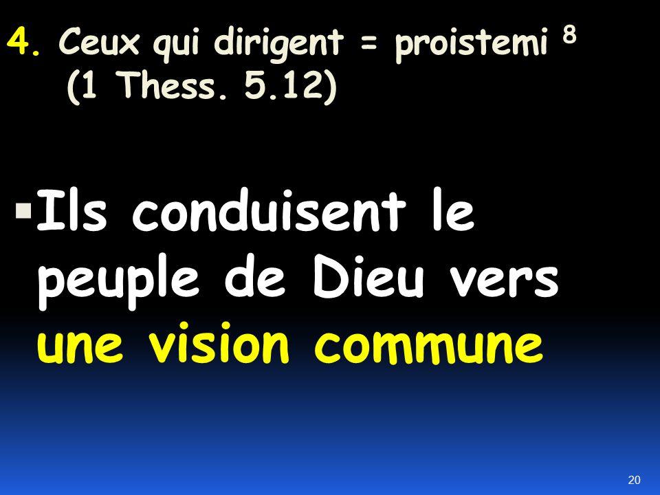 1. Nourrir le peuple de Dieu 2. Protéger le peuple de Dieu 3. Guider le peuple de Dieu 4. Soigner le peuple de Dieu 5. Discipliner le peuple de Dieu 1