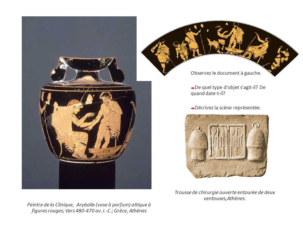 Peintre de la Clinique, Aryballe (vase à parfum) attique à figures rouges; Vers 480-470 av. J.-C.; Grèce, Athènes Observez le document à gauche. De qu