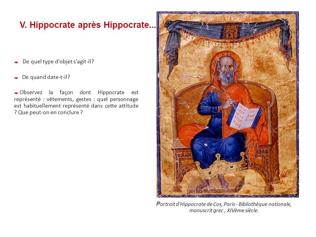 V. Hippocrate après Hippocrate... P ortrait d'Hippocrate de Cos, Paris - Bibliothèque nationale, manuscrit grec, XIVème siècle. De quel type d'objet s