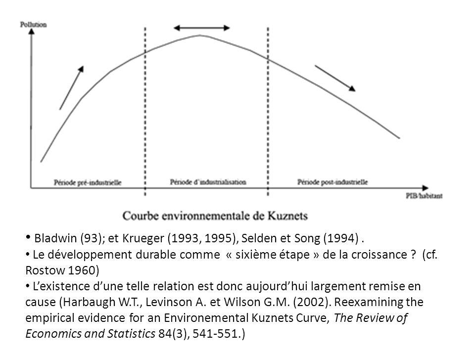 Bladwin (93); et Krueger (1993, 1995), Selden et Song (1994). Le développement durable comme « sixième étape » de la croissance ? (cf. Rostow 1960) Le