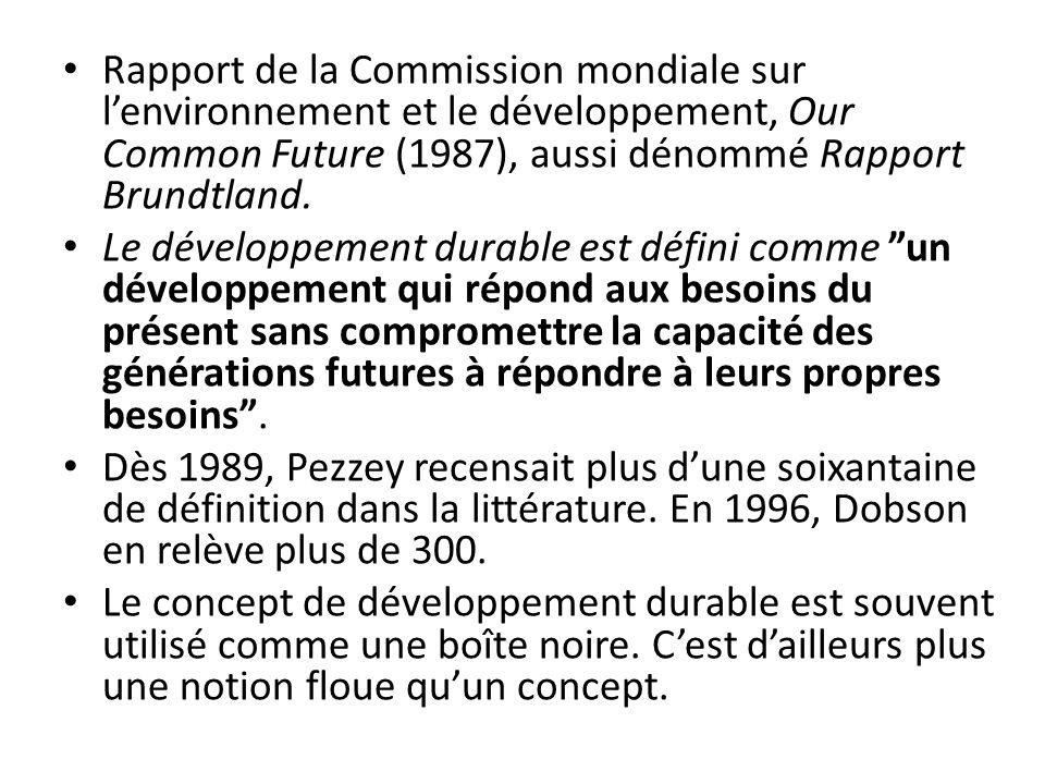 Rapport de la Commission mondiale sur lenvironnement et le développement, Our Common Future (1987), aussi dénommé Rapport Brundtland. Le développement