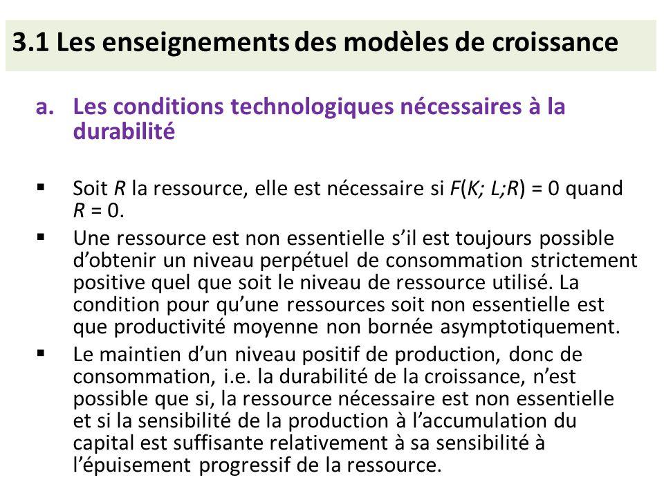3.1 Les enseignements des modèles de croissance a.Les conditions technologiques nécessaires à la durabilité Soit R la ressource, elle est nécessaire s