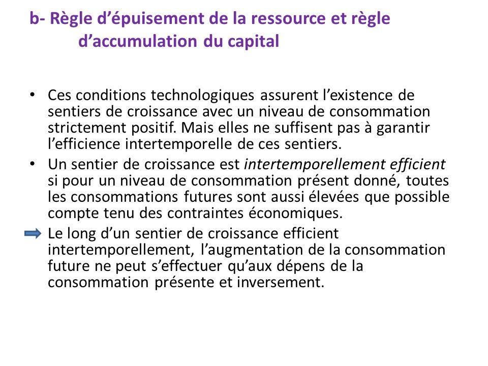 b- Règle dépuisement de la ressource et règle daccumulation du capital Ces conditions technologiques assurent lexistence de sentiers de croissance ave
