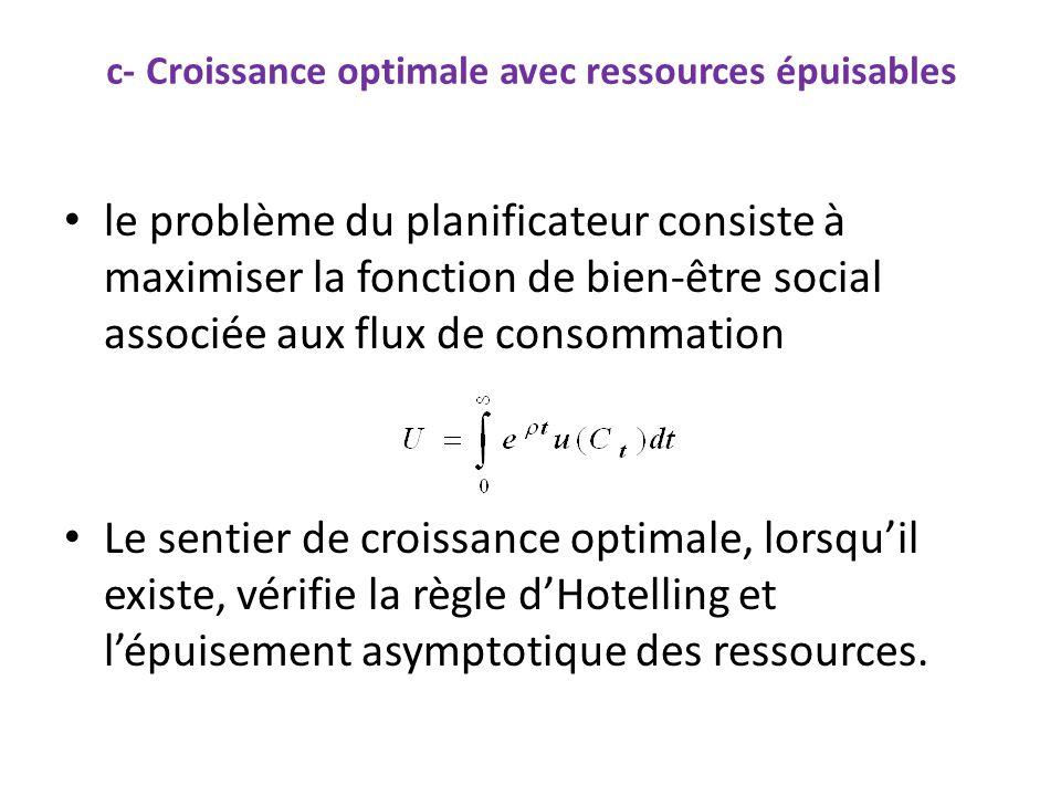 c- Croissance optimale avec ressources épuisables le problème du planificateur consiste à maximiser la fonction de bien-être social associée aux flux