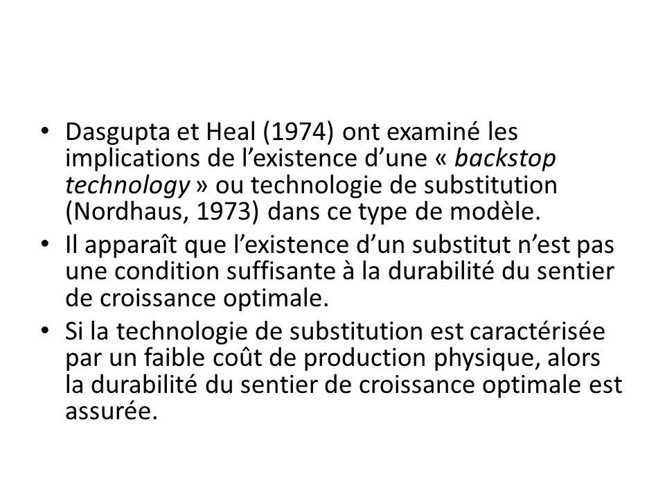 Dasgupta et Heal (1974) ont examiné les implications de lexistence dune « backstop technology » ou technologie de substitution (Nordhaus, 1973) dans c