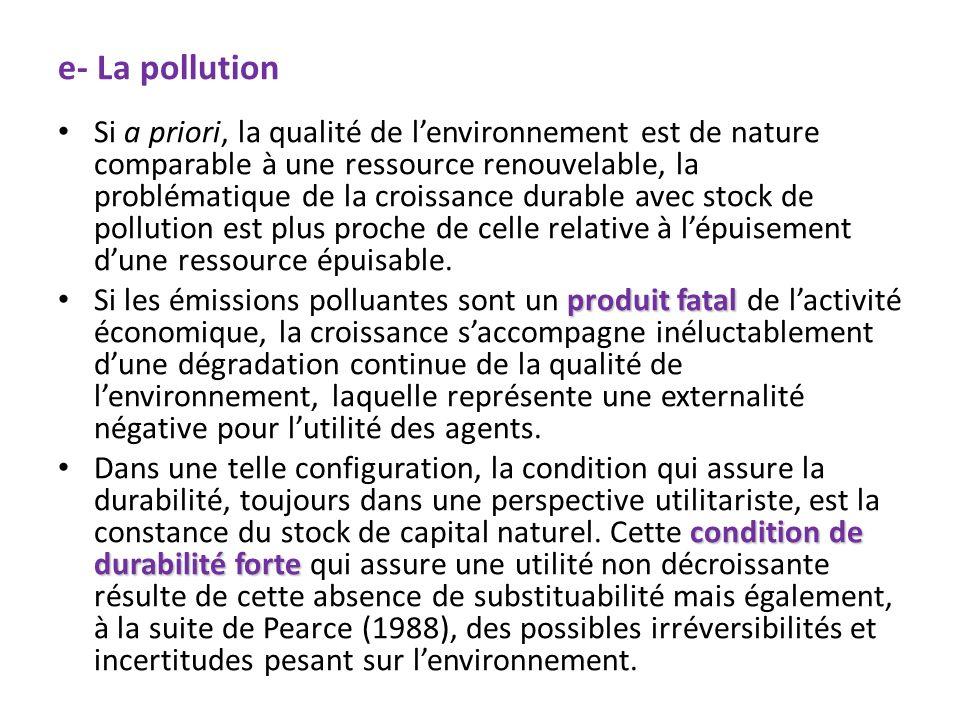 e- La pollution Si a priori, la qualité de lenvironnement est de nature comparable à une ressource renouvelable, la problématique de la croissance dur