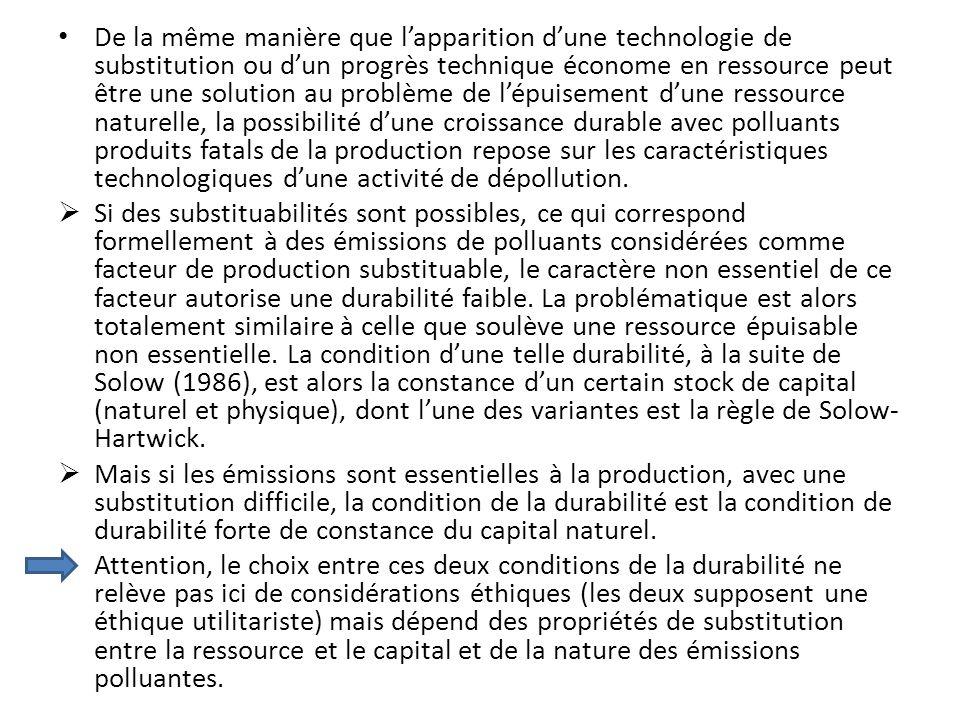 De la même manière que lapparition dune technologie de substitution ou dun progrès technique économe en ressource peut être une solution au problème d