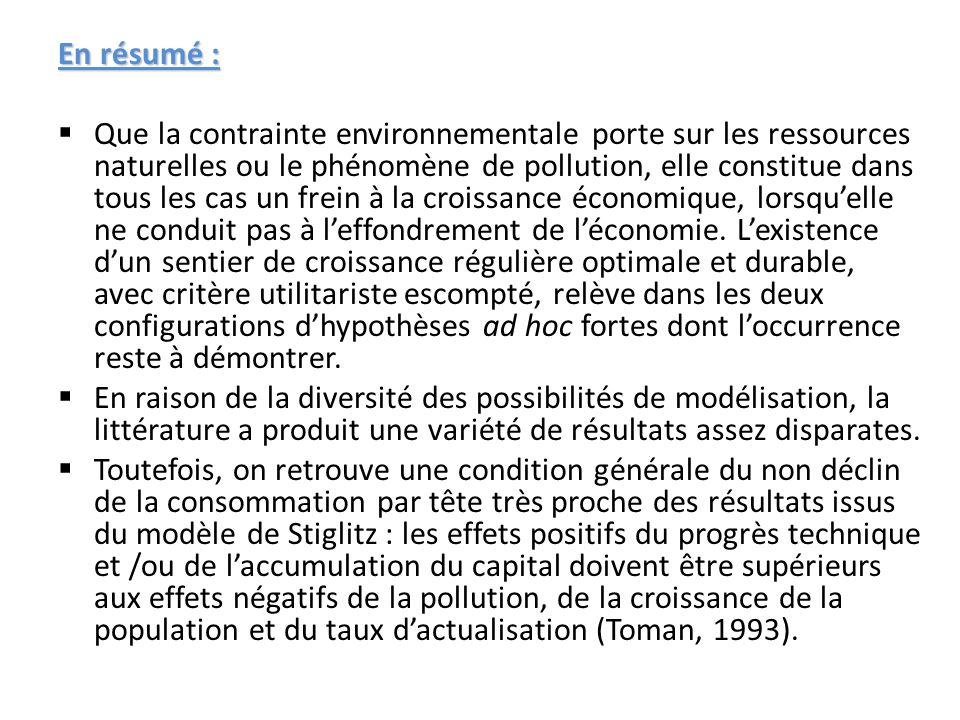 En résumé : Que la contrainte environnementale porte sur les ressources naturelles ou le phénomène de pollution, elle constitue dans tous les cas un f