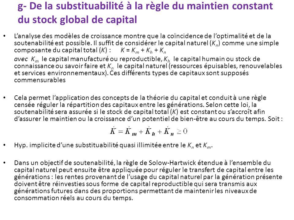 g- De la substituabilité à la règle du maintien constant du stock global de capital Lanalyse des modèles de croissance montre que la coïncidence de lo