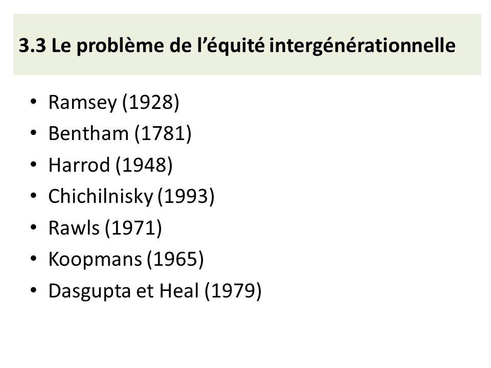3.3 Le problème de léquité intergénérationnelle Ramsey (1928) Bentham (1781) Harrod (1948) Chichilnisky (1993) Rawls (1971) Koopmans (1965) Dasgupta e