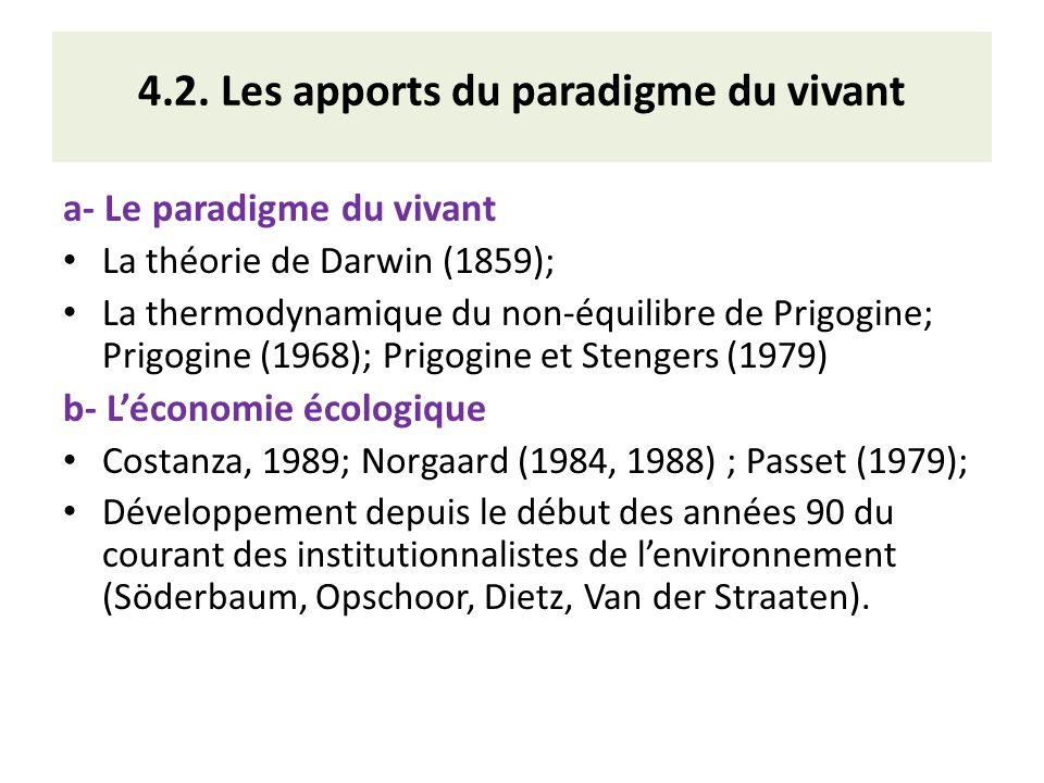 4.2. Les apports du paradigme du vivant a- Le paradigme du vivant La théorie de Darwin (1859); La thermodynamique du non-équilibre de Prigogine; Prigo