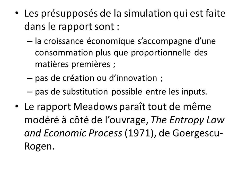 Les présupposés de la simulation qui est faite dans le rapport sont : – la croissance économique saccompagne dune consommation plus que proportionnell