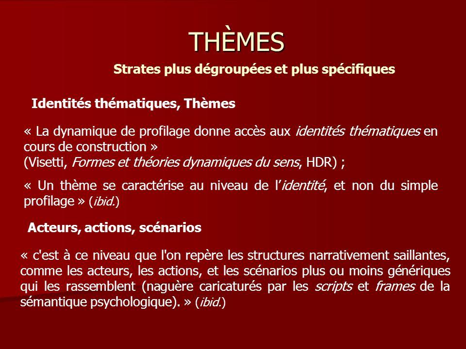 THÈMES Strates plus dégroupées et plus spécifiques « c est à ce niveau que l on repère les structures narrativement saillantes, comme les acteurs, les actions, et les scénarios plus ou moins génériques qui les rassemblent (naguère caricaturés par les scripts et frames de la sémantique psychologique).