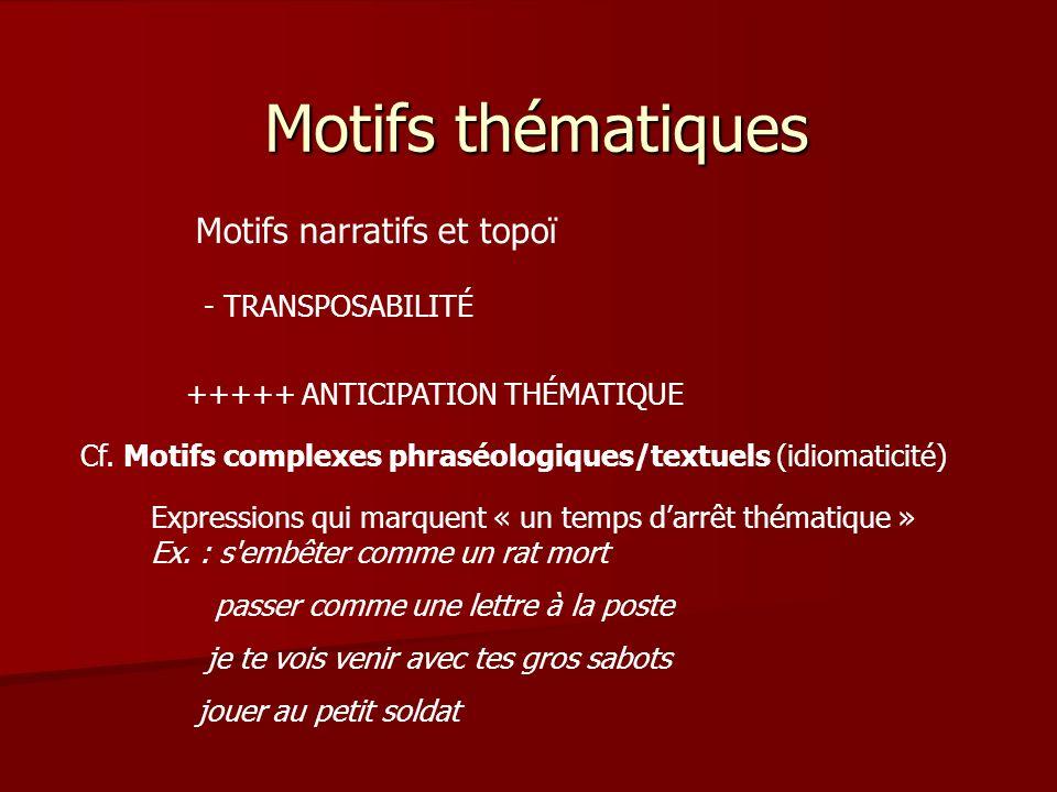 Motifs thématiques Motifs narratifs et topoï - TRANSPOSABILITÉ +++++ ANTICIPATION THÉMATIQUE Expressions qui marquent « un temps darrêt thématique » Ex.