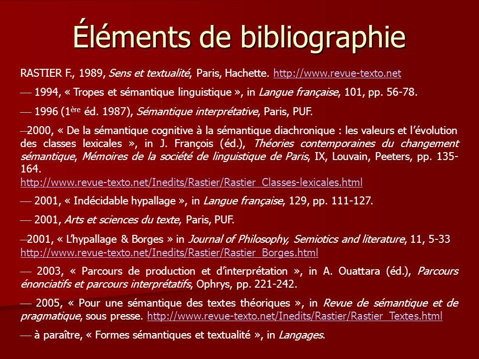 Éléments de bibliographie RASTIER F., 1989, Sens et textualité, Paris, Hachette.